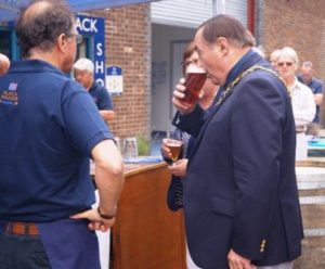 The Mayor of Romsey enjoying a pint of Flack's